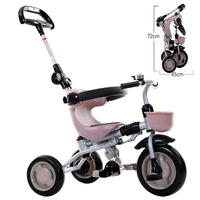 EVA solid wheel Baby Tricycle, one button to fold, child walker, adjust handle bar and pedal