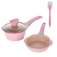 2019 Newest Pink Nonstick Frying Pan Baby Food Egg Cooking Pot Saucepan Small Milk Soup Stockpot Medical Stone Kitchen Cookware