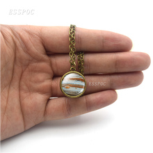 Eight Planets Necklace Mercury Venus Earth Mars Jupiter Saturn Uranus Neptune Double Sided Glass Ball Pendant For Women Jewelry mars jupiter saturn uranus sun mercury earth moon pendant lighting universe planet hanging lamp milky way planet pendant lamp