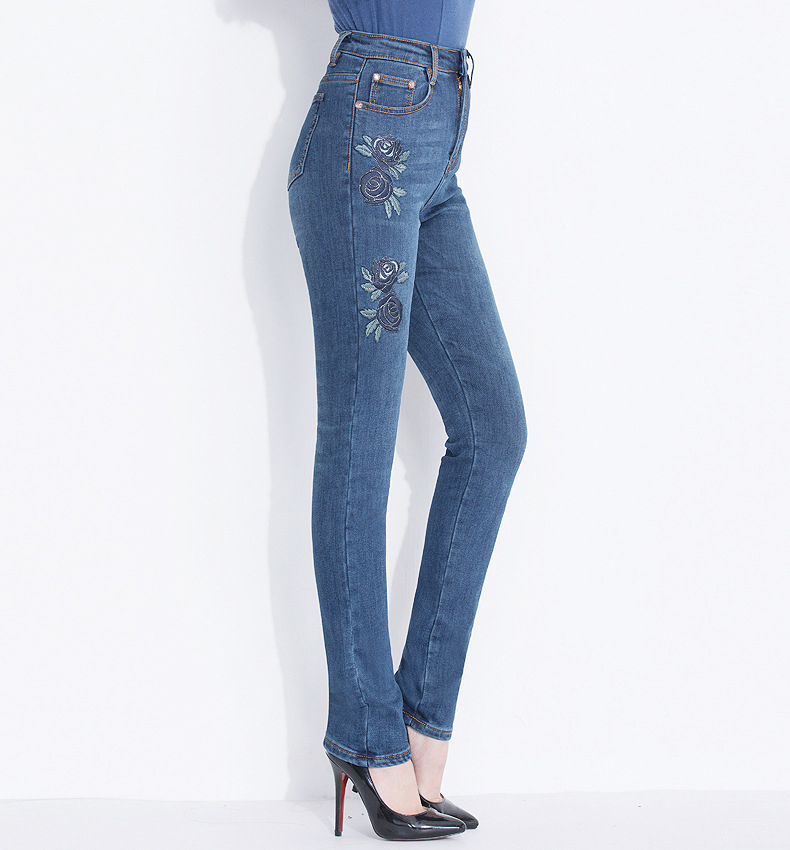 KSTUN Jeans Women Embroidered Floral Skinny Warmer Thicken High Quality Denim Pants Large Size