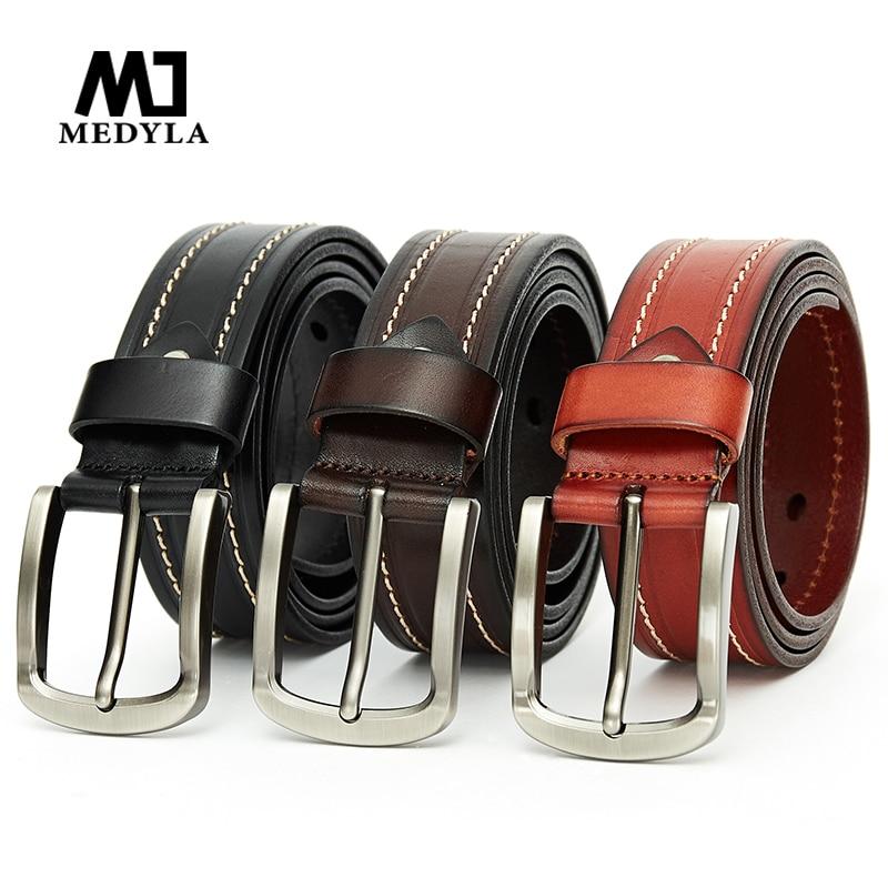 MEDYLA New Fashion Cowhide Men Leather   Belt   High Quality Alloy Buckle Brown   Belt   Jeans   Belt   Men