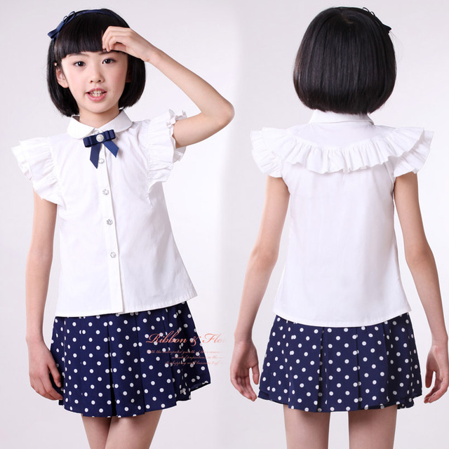 Kids Blouse for Girls Shirts 2017 Cotton Girl White Blouses High Quality Solid Teenage School Uniform Shirt Short Sleeve Clothes