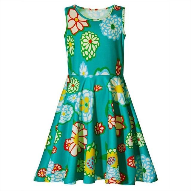 f27f0969dbd0 Baby Girls Dresses Fashion Kids Girls Dress Cartoon Flower Sleeveless  Princess Dress Floral Print Children s Vestidos Clothing