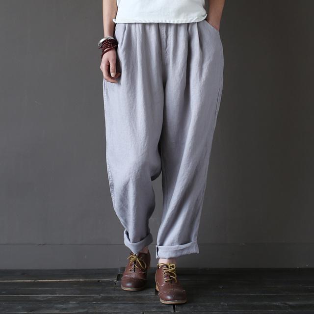 Ropa de cintura elástica Sueltos Mujeres Pantalones Harem 2016 Del Verano Nuevas Pantalones de Marca de Alta calidad Más El tamaño de Lino Pantalones Harem ocasional A045