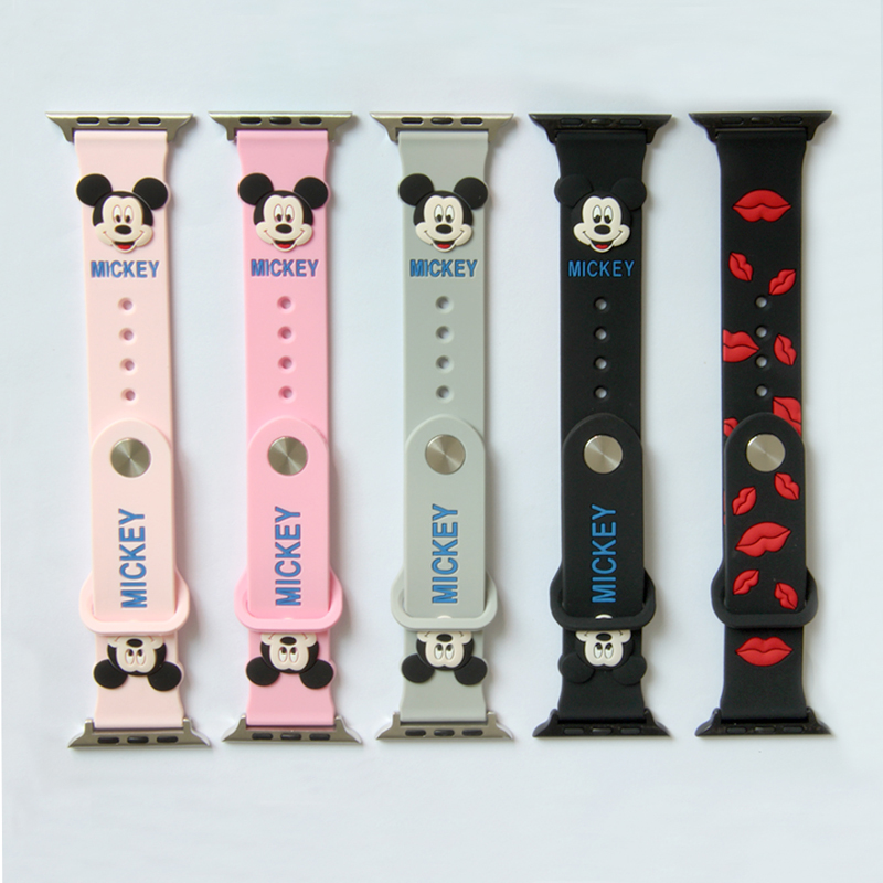 Cute Mickey Mouse hellokitty Ears silicone strap for apple watch band 44 40 38 42 mm for iwatch 1/2/3/4 Replaceable AccessoriesCute Mickey Mouse hellokitty Ears silicone strap for apple watch band 44 40 38 42 mm for iwatch 1/2/3/4 Replaceable Accessories