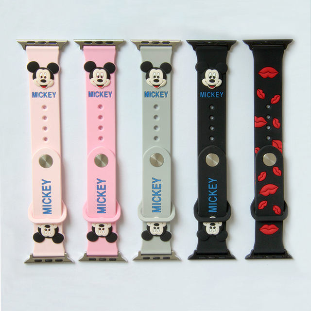 Cute Mickey Mouse hellokitty Ears silicone strap for apple