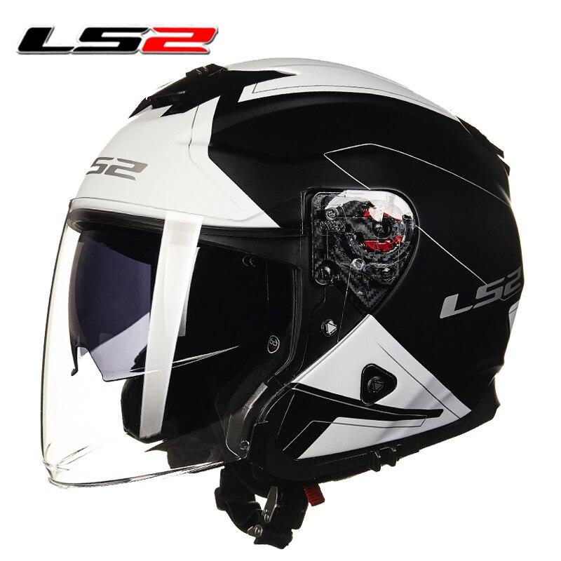LS2 moto rcycle open face helm 3/4 helm doppel linsen racing halb helme moto rbike helm cascos casque moto
