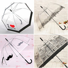 Simple fashion prevent wind and rain umbrella automatic long handle transparent umbrella Creative princess transparent parasol(China)