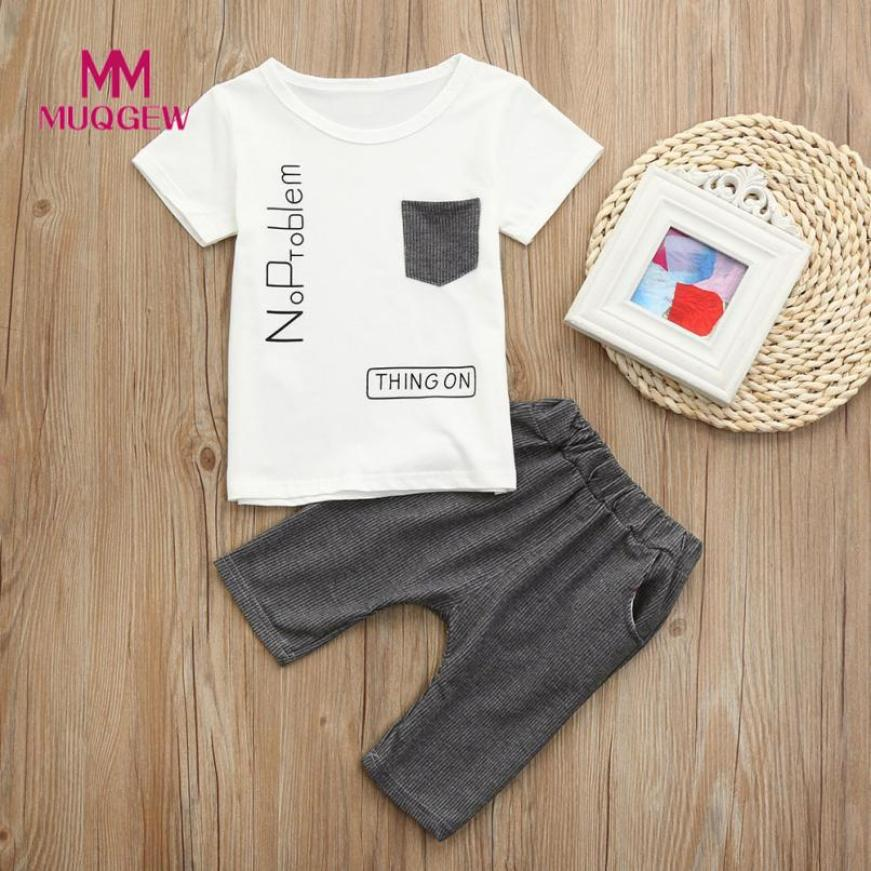 MUQGEW brand clothes sets Toddler Baby Boys Short Sleeve Letter Print Tops O-Neck T-shirt Stripe hot sale newst style Pants Set