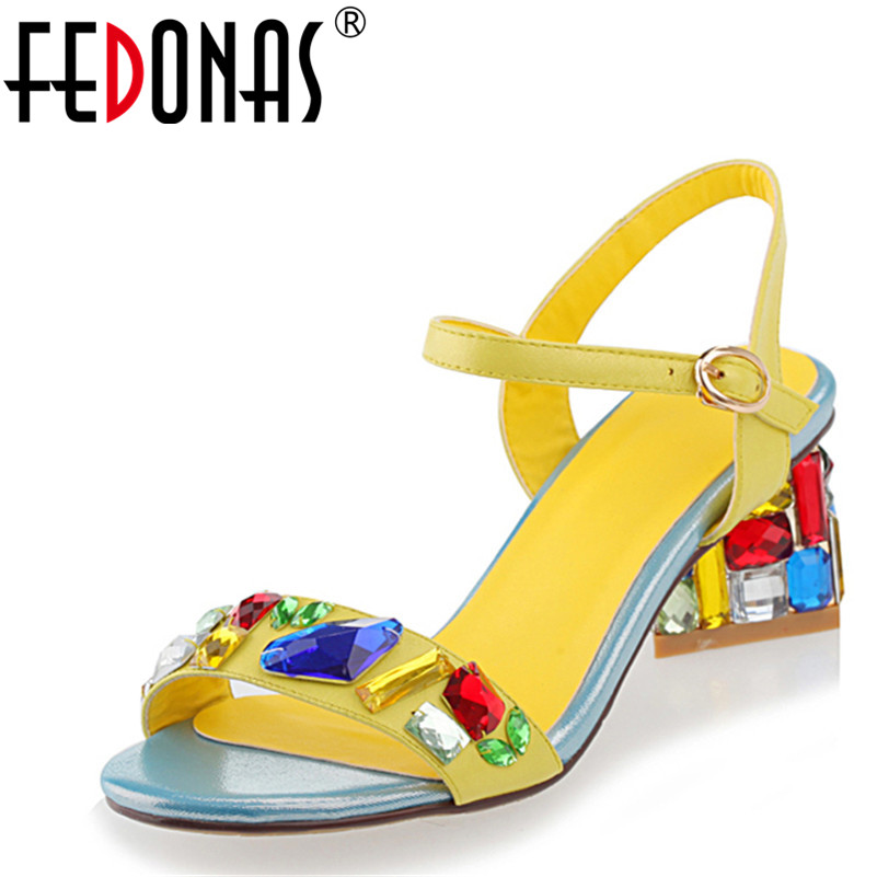 FEDONAS Gladiator Women Sandals Crystal High Heels Wedding Prom Shoes Woman Fashion Summer Ladies Pumps Female Rhinestone Sandal hot sale 2018 new fashion wedge gladiator platform sandals women flower rhinestone summer pumps crystal wedding high heels shoes
