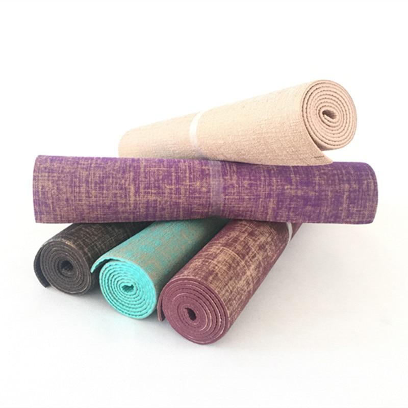 Non-slip Jute Pvc Yoga Mat Nature Yoga Mat Thickness 5mm Linen Material Yoga Mat Exercise Pad exercise mat