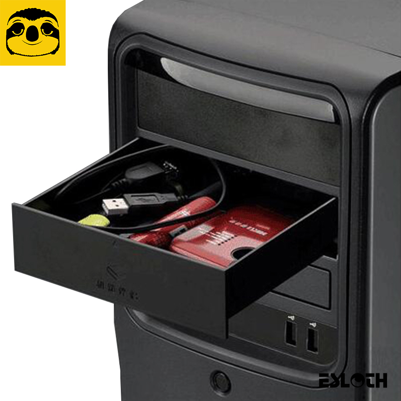 Nuevo Negro 523 unidades de disquetes 5,25 pulgadas carcasa de Metal chasis de ordenador CD-ROM caja de almacenamiento del cajón de la unidad gabinete caja de almacenamiento de cigarrillos