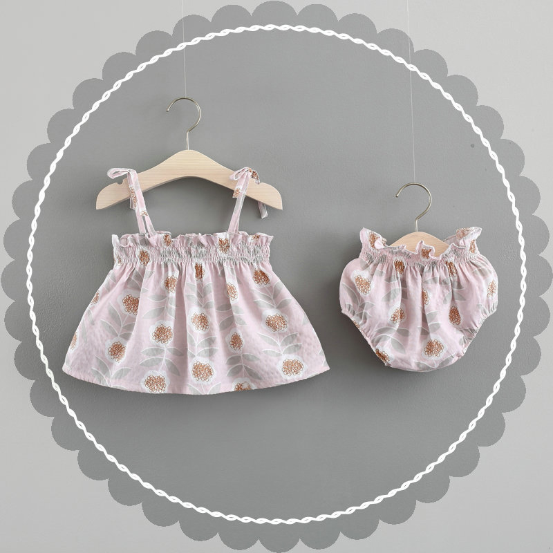 Pink Bow Newborn Clothes Set Cotton Baby Summer Tops Shorts Headband Print Infant Baby Girl Clothe Set