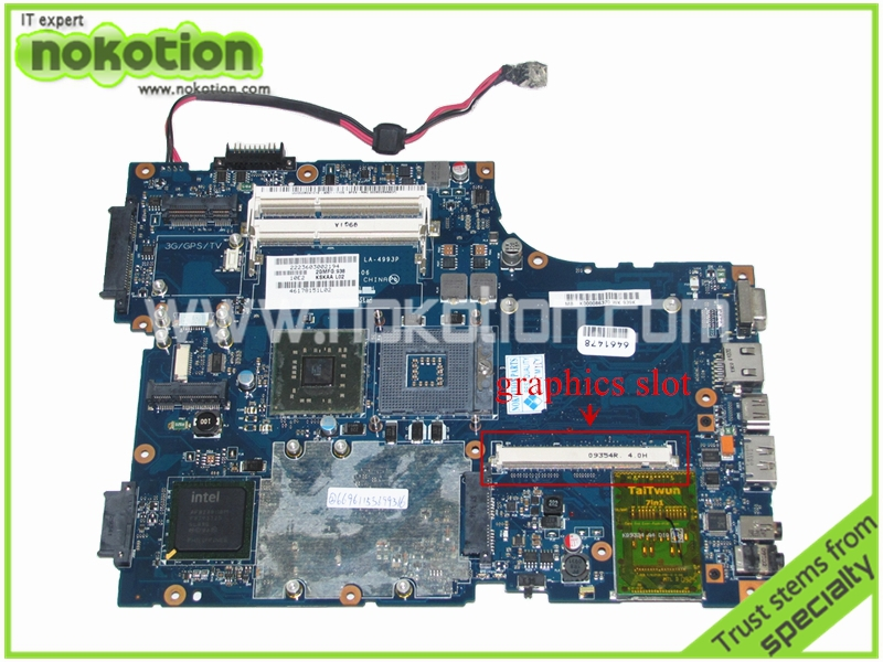 NOKOTION LA-4993P K000086370 Laptop Motherboard for Toshiba A500 KSKAA intel  PM45 DDR3 With graphics slot Mainboard nokotion laptop motherboard for lenovo g570 la 675ap mainboard intel hp65 ddr3 socket pga989