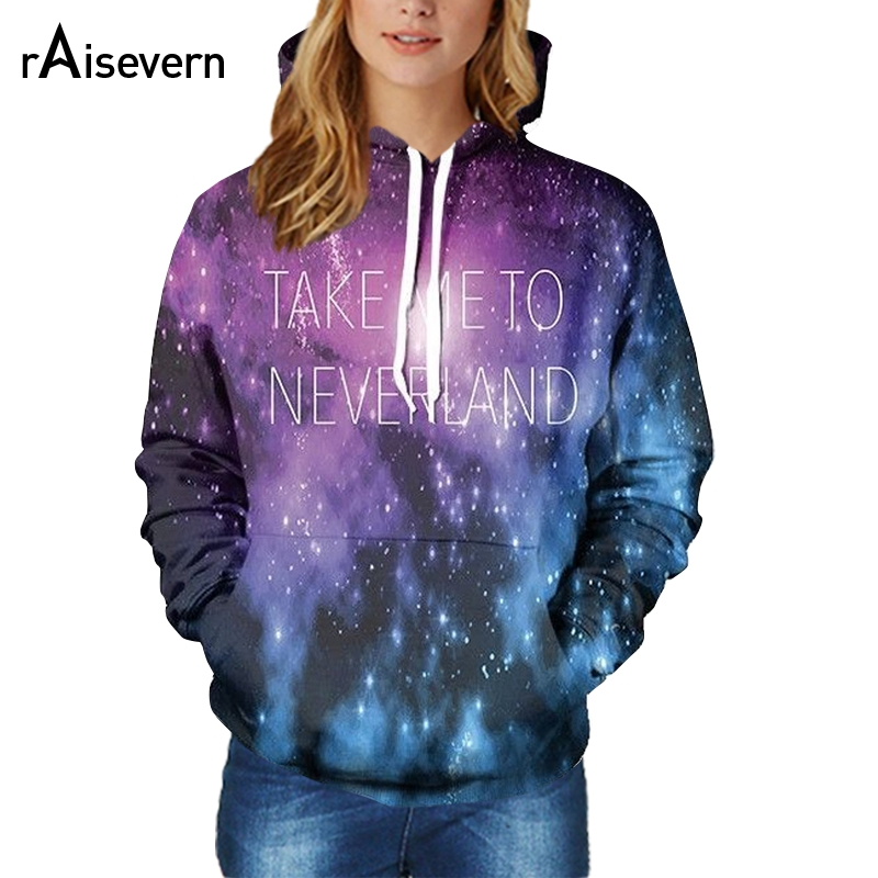 2018 New Galaxy Space Hoodie 3D Take Me To Neverland Funny Letter Printed Sweats Top Hoody Men Women Fashion Sweatshirt Dropship ...