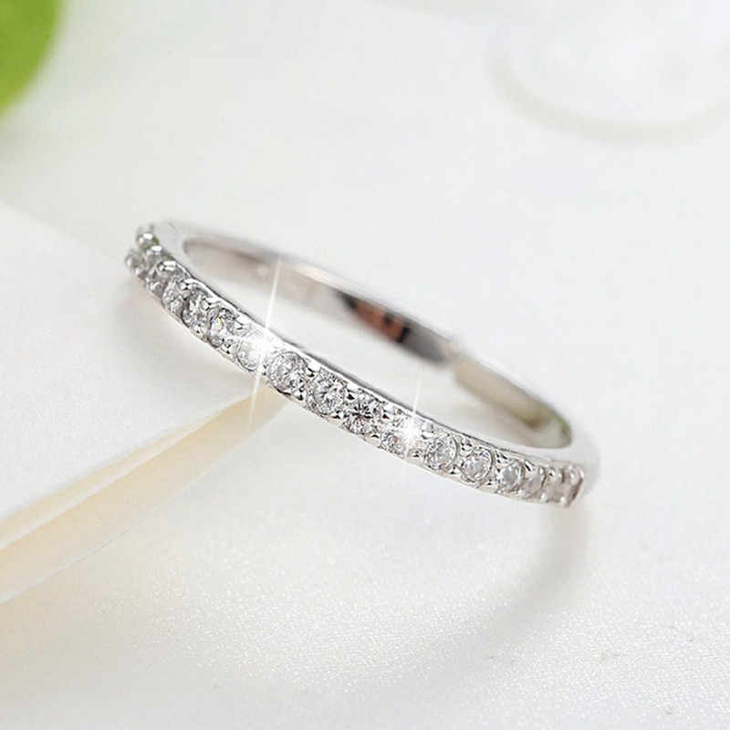 New Arrivals 925 Sterling Silver Crystal Circle Rings for Women Adjustable Size Finger Open Rings Fashion Jewelry
