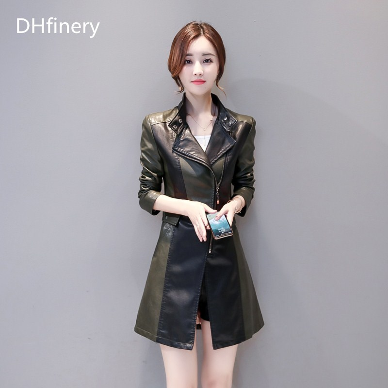 leather   jacket women spring autumn Slim Long   Leather   Jacket black green splice   Leather   Trench coat plus size m-5XL k6608