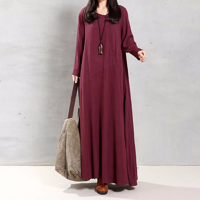 Celmia Plus Size 5xl Women Vintage Dress Vintage Cotton V-neck Long Sleeve Casual Knee-length Dresses Loose Female Vestido Mujer High Standard In Quality And Hygiene Women's Clothing