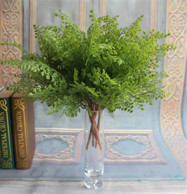 5pcs Simulated Ginkgo Biloba Artificial Greenery Evergreen Plant Green Leaf Bunch For Wedding
