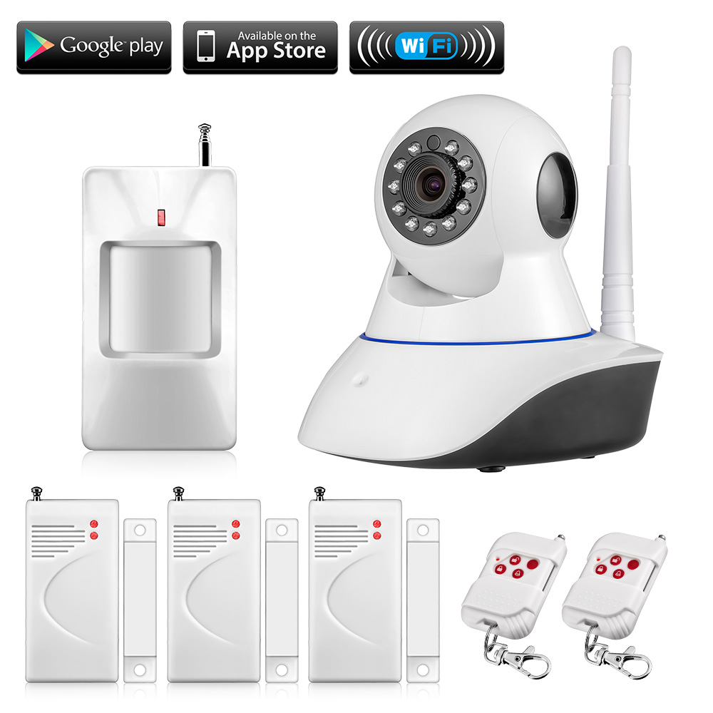 ФОТО 720P Wireless WIFI IOS Android Control HD Pan/Tilt Networok IP Camera With door sensors infrared PIR Security alarm system