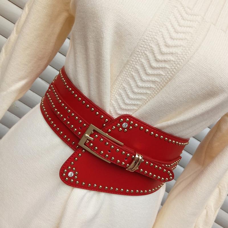 Brand new Belt Woman High Quality Leather Elastic Wide Belts for Women Dress Female Decoration rivets Belts for Coat Femme