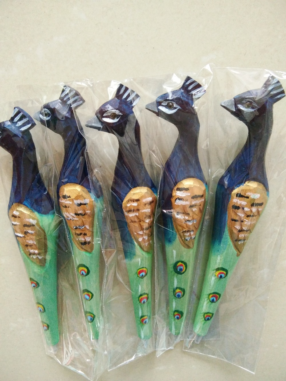 Promotional high quality  wood craft peacock ballpoint pen basswood peafowl tourist gift