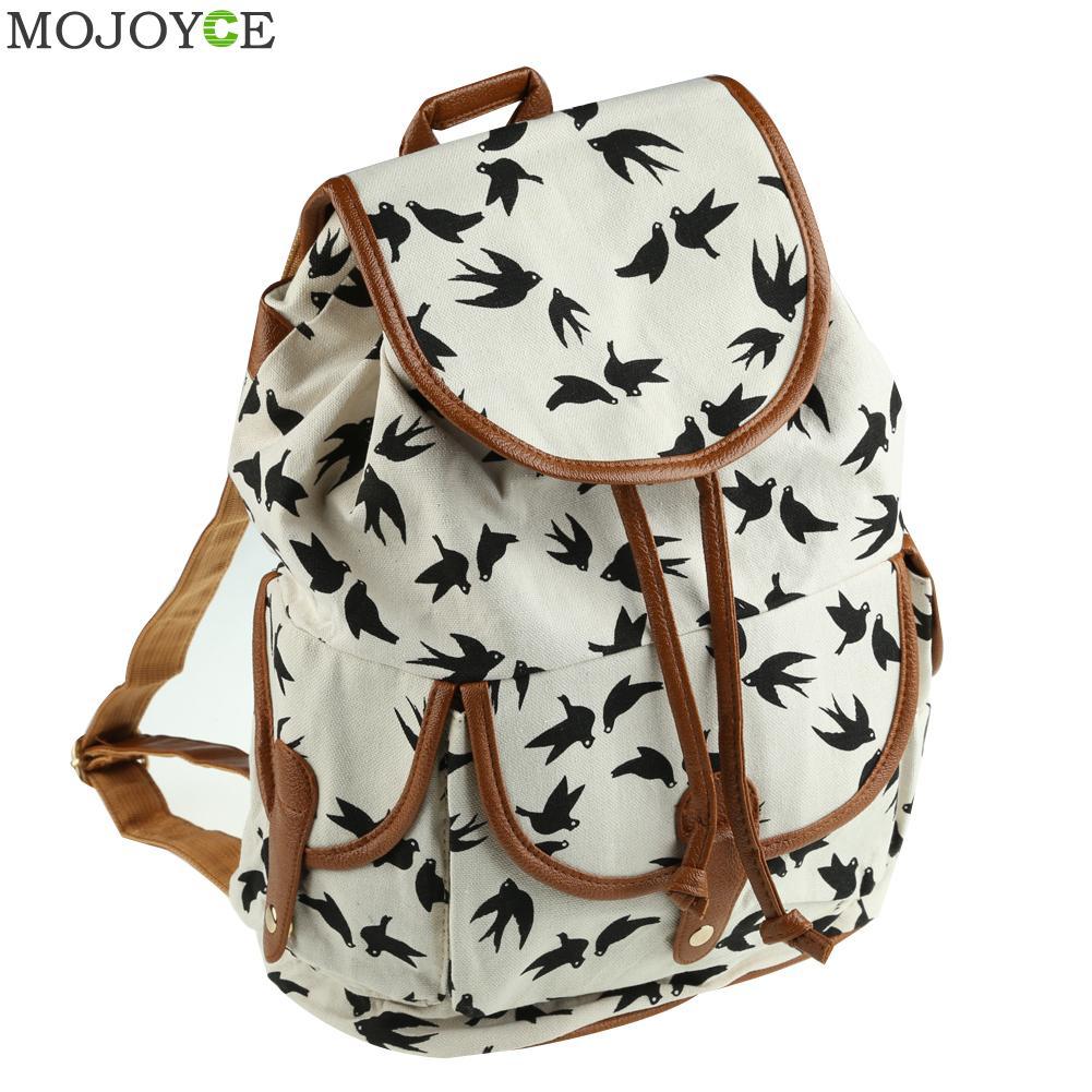 Cute Women Canvas Backpack Travel Rucksack Hobo Schoolbag Satchel Bookbag Jacquard Cloth Cartoon Owl Backpacks Mochila