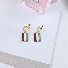 Korean Simple Colorful Striped Square Vintage Elegance Woman Girl Clip Earrings Fashion Jewelry-LAF