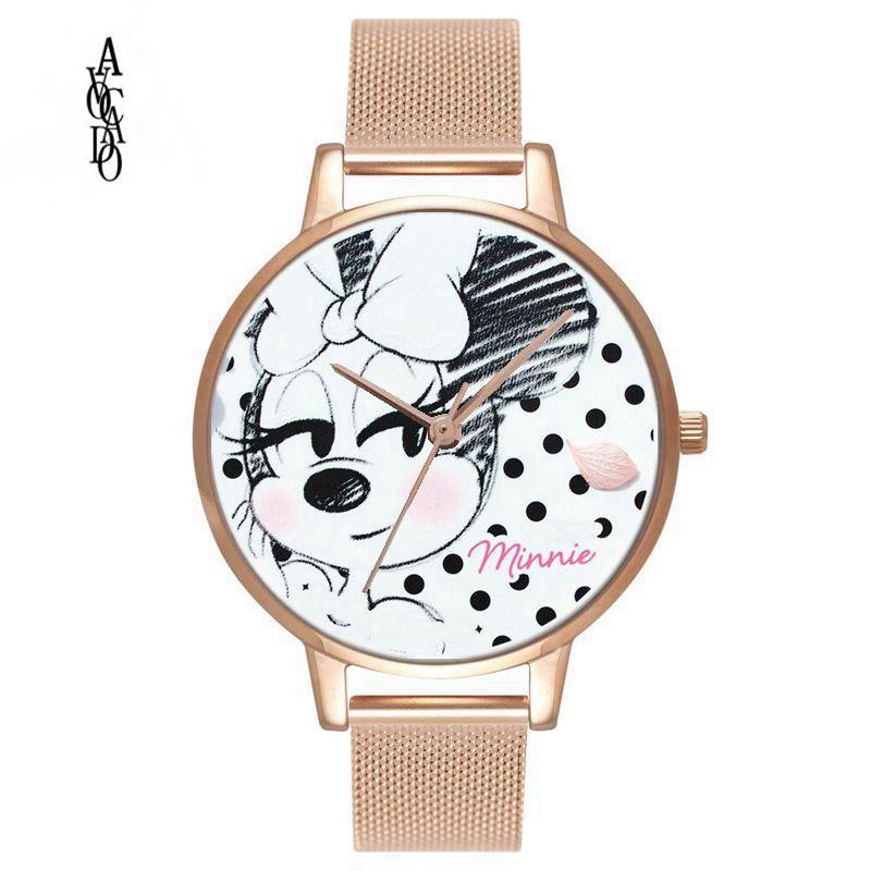 Abacate Minnie rato dos desenhos animados impresso relógios crianças relógios para as mulheres senhoras estudantes do sexo feminino relógio presente da menina