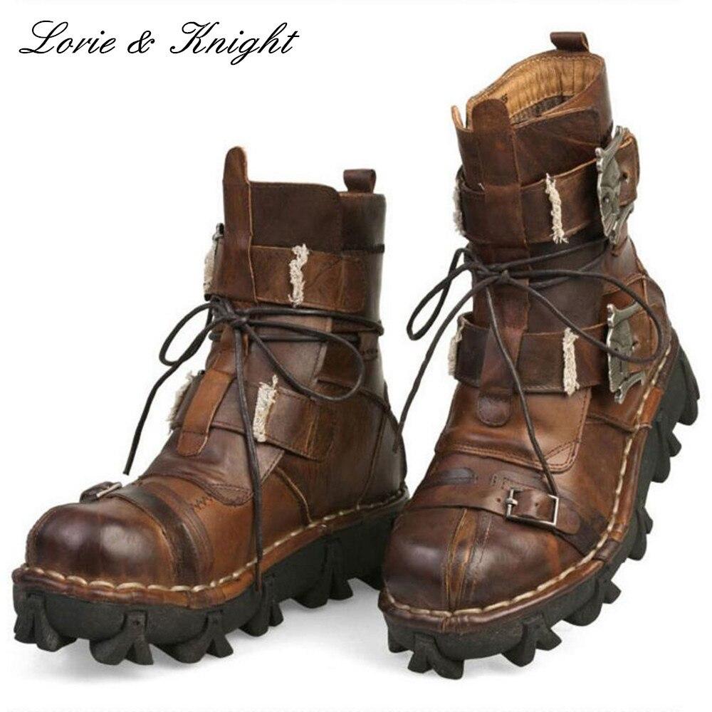 Для мужчин коровьей натуральной кожи рабочие ботинки военные армейские ботинки Готический Череп Панк мотоциклетные ботинки «мартинс»