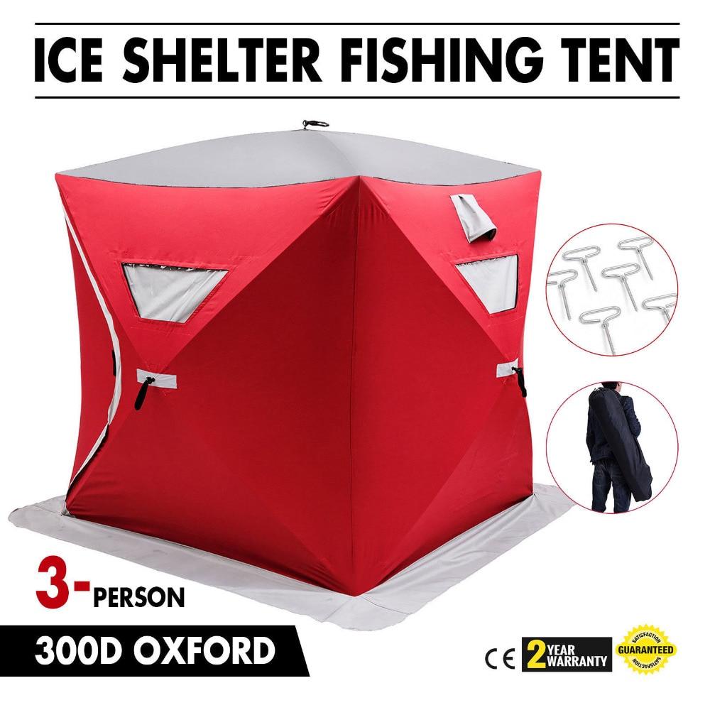 Tente de pêche Portable à 3 places pour abri sur glace avec ancrages de glace rouge