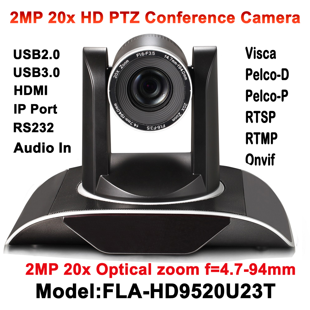 20x Optical Zoom 2MP PTZ IP Streaming Video Audio Camera RTSP RTMP Onvif with Simultaneous HDMI and USB Outputs image