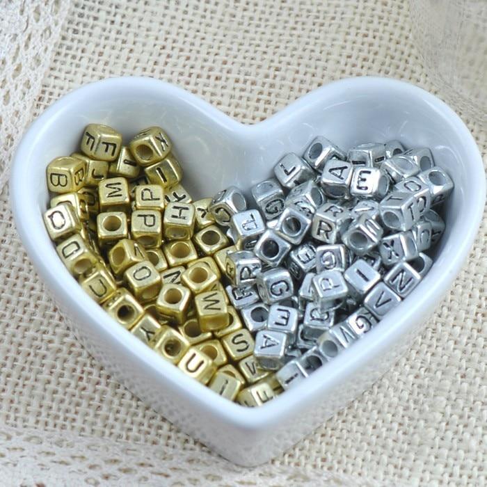 300PCS 6mm 10mm Vintage Golden Letters Beads Alloy Alphabet Beads for DIY Bracelets Necklaces