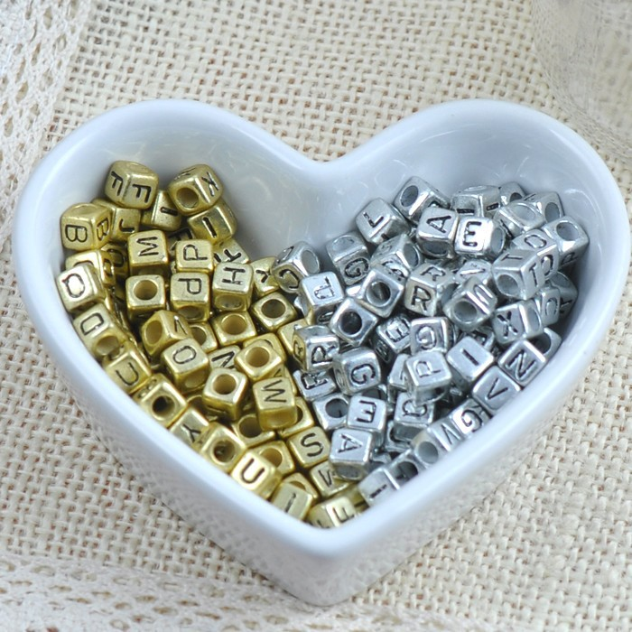 Realistic 200pcs 6mm Gold Sliver Plated Mixed Letter Alphabet Cube Acrylic Beads For Jewelry Making Ykl0226x Jewelry & Accessories Beads