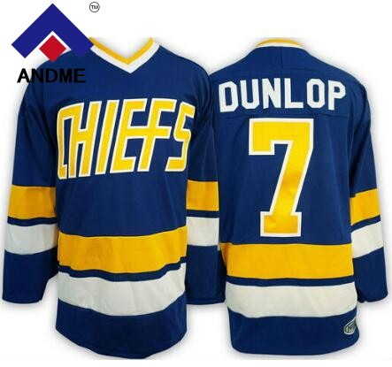 Регги Dunlop Джерси #7 воротам чарльстаун Хоккей Джерси сшитые сине-белые