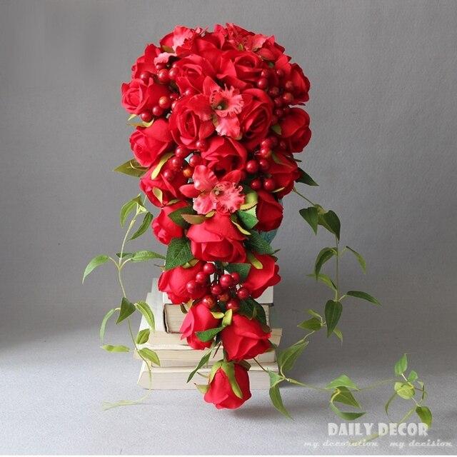 Красная роза свадебный букет #1
