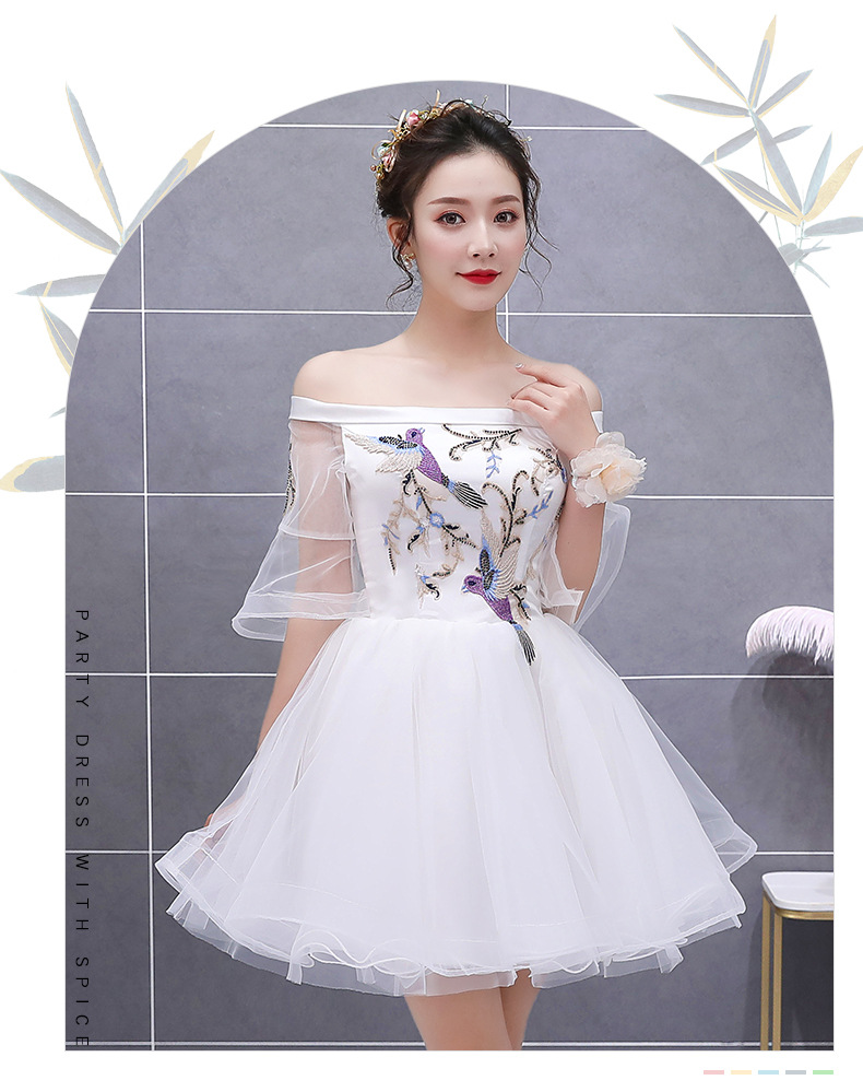 New white short sweat lady girl women princess bridesmaid banquet party ball dress gown free shipping
