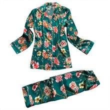 Sexy Sleep Lounge V-Neck Women Pajamas Set Elegant Print Lon