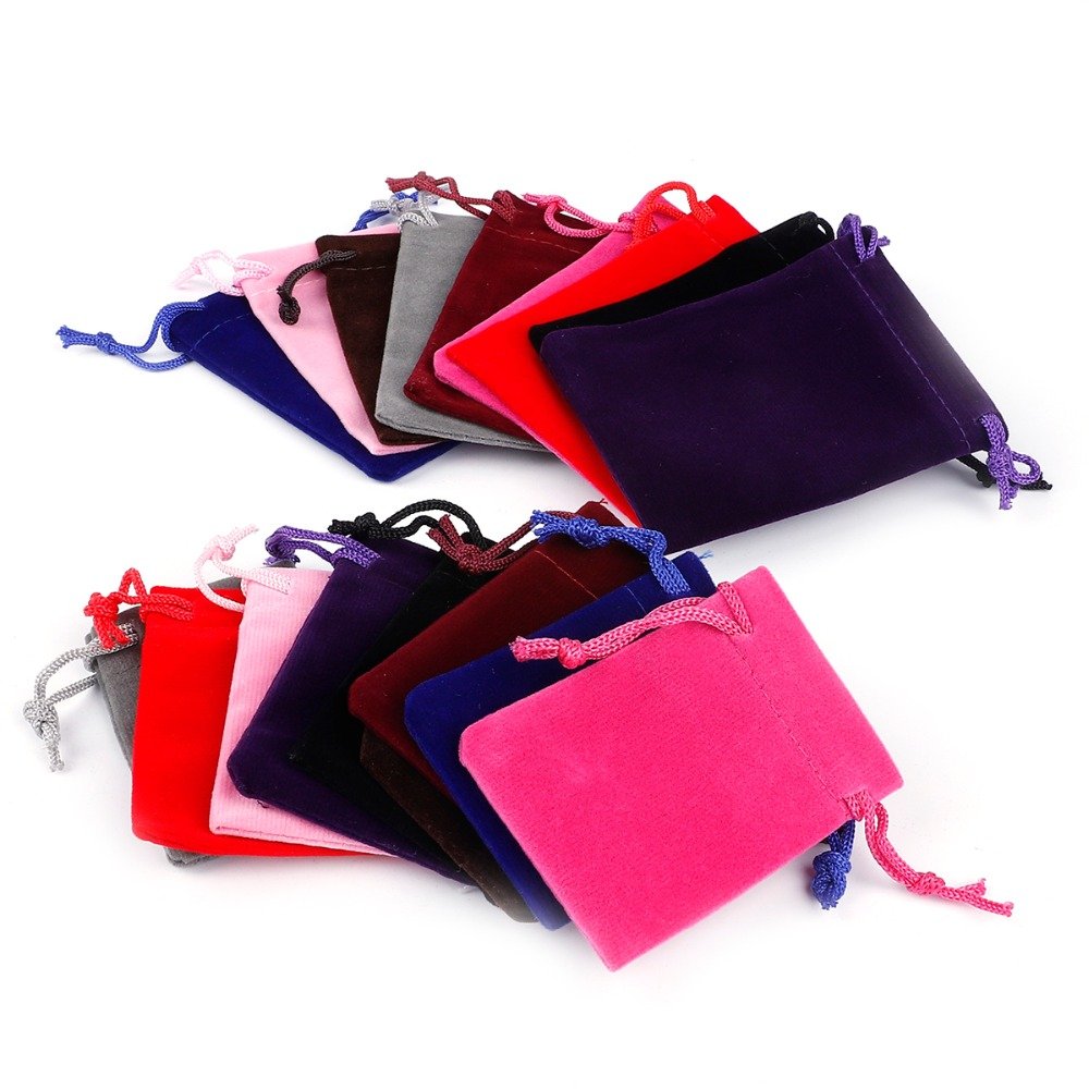 10pcs 5x7cm 7x9cm 9x12cm 10x15cm Colorful Velvet Pouches Jewelry Packaging Display Drawstring Packing Gift Bags & Pouches