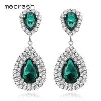 Mecresh Luxe Green Crystal Bridal Oorbellen voor Vrouwen 6 Kleuren Teardrop Big Dangle Oorbellen Wedding Kerst Sieraden EH100