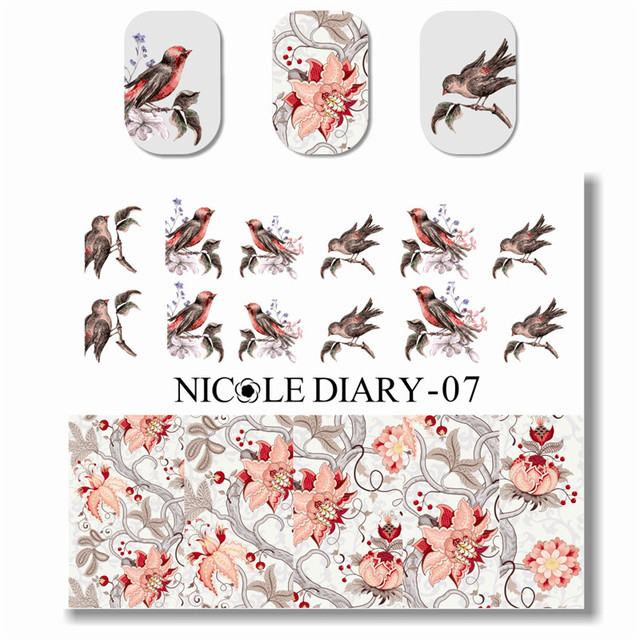 NICOLE DIARY Nail Art Water Decals Nail Tips Beauty Watermark Fingernails Nail Art Water Tattoo 25941