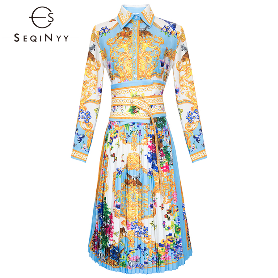 SEQINYY Printed Dresses 2019 Early Spring Woman s New Long Sleeve Fashion Flowers High Street Sashes