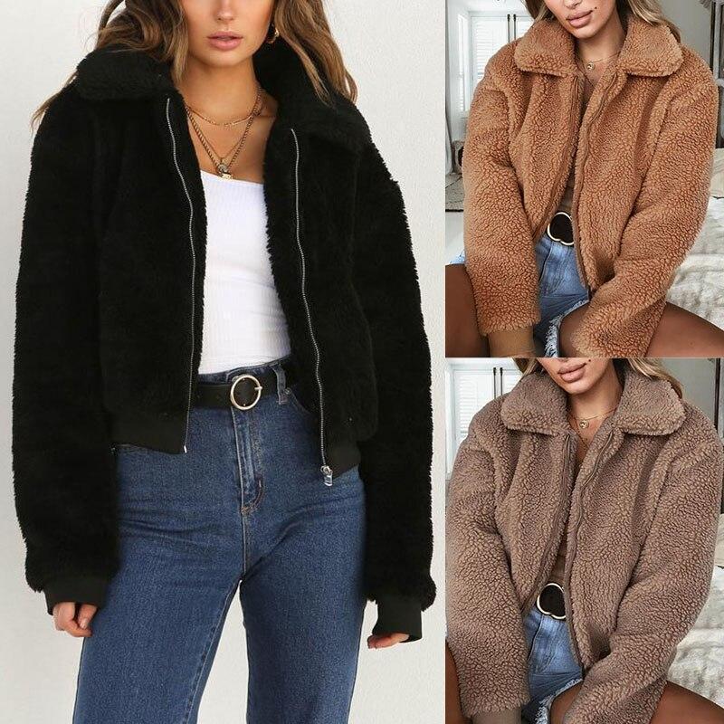 1 Pcs Women Lady Coat Plush Long Sleeve Zipper Solid Color Warm for Autumn Winter FS99