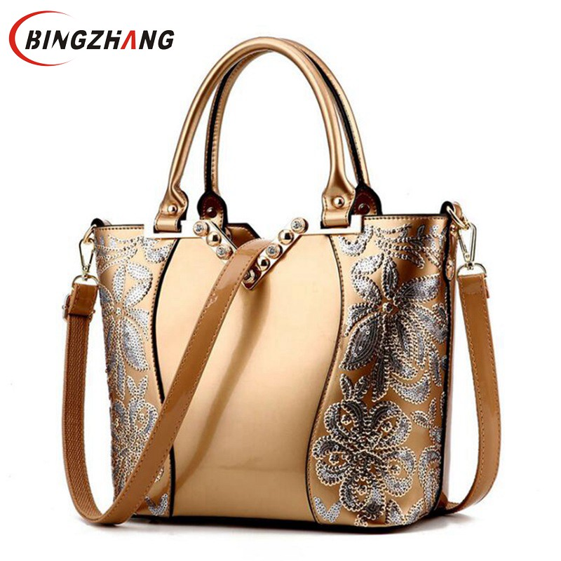 2017 Luxury Sequined Embroidery Women Bag Patent Leather Handbag Diamond Shoulder Messenger Bags Famous Brand Designer L4-3177 patent leather handbag shoulder bag for women