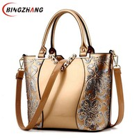 2019 Luxury Sequined Embroidery Women Bag Patent Leather Handbag Diamond Shoulder Messenger Bags Famous Brand Designer L4 3177