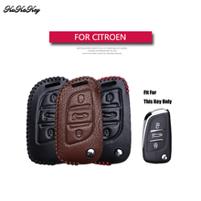 Genuine Leather Flip Folding Car Key Case Cover For Citroen C2 C3 C4 Coupe VTR Berlingo C6 C8 Holder Shell Bag