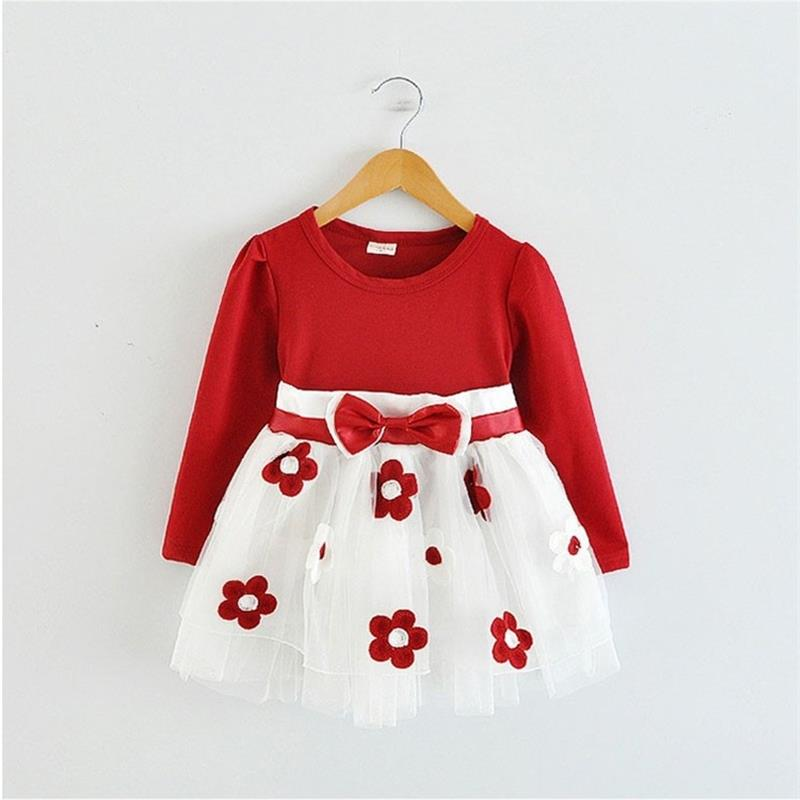 Winter Baby Girls Dress For Girls 2018 Hot Sale Flower Baby Dress Clothes Newborn Toddler Baby Kids Flower Clothing 0-2Y