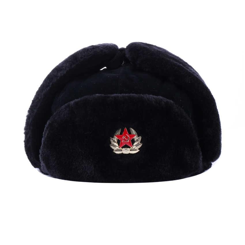 e58eca71efd63 ... Soviet Army Military Badge Russia Ushanka Bomber Hats Pilot Trapper  Aviator Cap Winter Faux Rabbit Fur ...