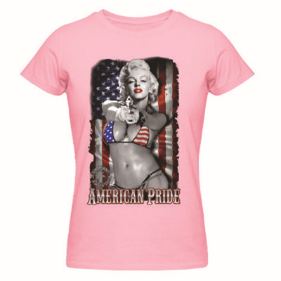 Marilyn Monroe tattoo USA American Flag Ladies T-Shirt Women's Top Shirts O-Neck Tees Custom Top Summer Cotton Design Tee shirt