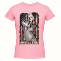 bd6e06cc63ae Marilyn Monroe Tattoo USA American Flag Ladies T Shirt Women S Top Shirts O  Neck Tees